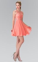 A-Line Waist Jeweler Appliqued Short Mini Sleeveless Scoop-Neck Chiffon Dress