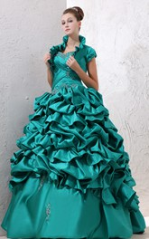Captivating Crisscross Ruching Ruffles Strapless Ball Gown