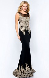 Sheath Jersey Scoop-neck Prom Dress With Beading And Sweep Train