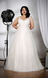 Plunged Beaded Sleeveless Tulle A-line plus size wedding dress With Corset Back