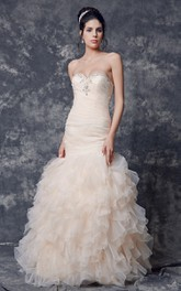Ruched Long Train Lace Shinning Organza Gown