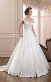 Satin Low-V Back Cap-Sleeve V-Neckline A-Line Dress