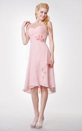 Side-Draped High Low Inspire Sweetheart Classic Chiffon Dress