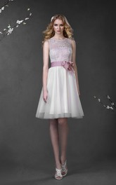 Sleeveless Bow Tulle Short A-Line Lace Gown