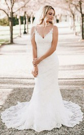Romantic Sleeveless V-neck Lace Sheath Floor-length Mermaid Brush Train Wedding Dress