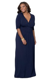 Jersey Long-Sleeve Long Plunging-Neck Gown