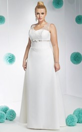 V-neck Sleeveless Satin A-line plus size wedding dress With Beading