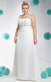 V-neck Sleeveless Satin A-line plus size wedding dress With Beading