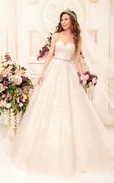 Sleeveless Appliqued Waist Jewellery Long A-Line Lace Dress