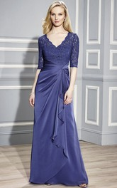 V-neck Half Sleeve side-draped Lace Mother of the Bride Dress