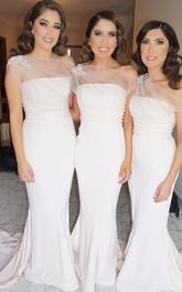 Strapless Satin Sleeveless Floor-length Brush Train Trumpet Bridesmaid Dress with Appliques