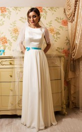Long Pleated Bow Sheath Satin Dress