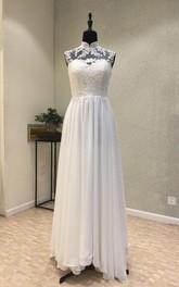 Elegant Garden Style Chiffon High-neck Sleeveless Floor-length Wedding Dress with Lace