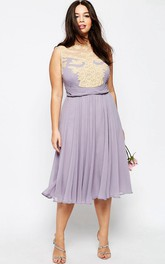 A-Line Pleated Tea-Length Jewel-Neck Sleeveless Chiffon Bridesmaid Dress