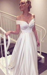 Off-the-shoulder Satin Cap Short Sleeve Wedding Dress