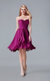 Sweetheart Criss-cross ruched Chiffon short A-line Backless Dress