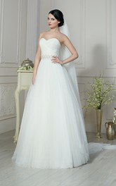 Sleeveless Ruched Beading Long A-Line Tulle Dress