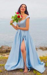 Straps V-neck Satin Sleeveless Floor-length Brush Train Formal Dress with Pockets