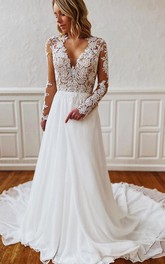 A Line V-neck Chiffon Lace Floor-length Court Train Long Sleeve Wedding Dress With Appliques