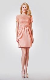 Short Satin Short-Sleeve Illusion Lace Dress