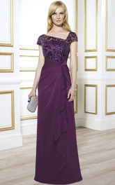 Asymmetrical Cap-sleeve Sheath Mother of the Bride Dress With draping