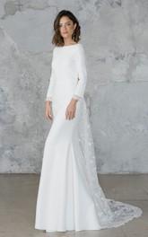 Elegant Sheath Chiffon and Tulle Long Sleeves Wedding Dress
