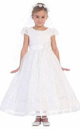 Organza Sash Floral Ankle-Length Flower Girl Dress