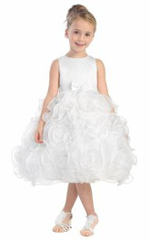 Bowknot Satin Layered Tea-Length Organza Flower Girl Dress