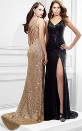 sexy Sequined V-neck Sleeveless Long Prom Dress With Split Front