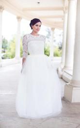 Tulle-Skirt Detachable 2-Piece Floor-Length Lace Skirt Bride Dress