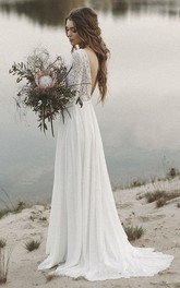 A-line Simple V-neck Wedding Dress with Lace And Long Sleeves