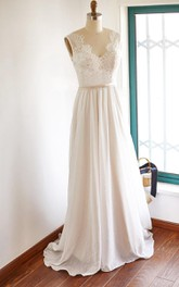 Wedding Top Brush Train Sleeveless V-Neckline Gown