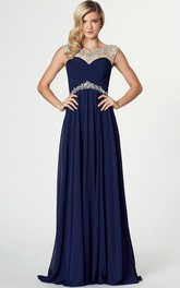 Bateau Sleeveless Chiffon Criss cross Dress With Beading And Low-V Back