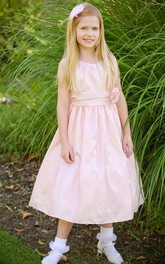 Taffeta Pleated 3-4-Length Flower Girl Dress
