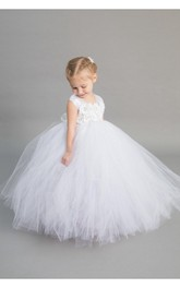 Floral Bow Tulle Ivory Cap-Sleeve Princess Pleated Ball Gown