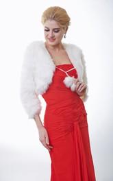 3 4 Sleeve Faux Fur Wedding Shawl With Fuzzy Balls