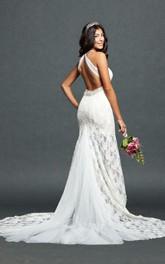 Haltered Sheath Floor-length Wedding Dress With Beading And Sweep Train