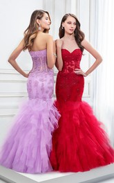 Mermaid Sweetheart Ruffled Prom Dress With Illusion And Appliques