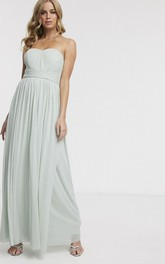 Sleeveless Sweetheart Ethereal Chiffon Bridesmaid Dress With Ruching And Sash