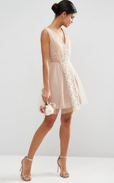 Mini A-Line V-Neck Sleeveless Lace Tulle Bridesmaid Dress With Ruching