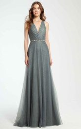 Plunged Tulle Sleeveless Dress With Embellished Waist