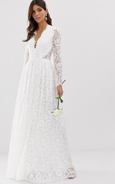 Sexy Lace Sheath Plunging Neckline Long Sleeve Wedding Dress