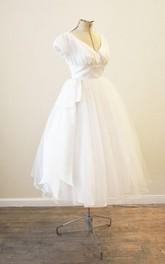 Wedding Tutu Skirt Pleats Vintage V-Neckline Gown