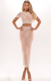 Pencil Tea-length Lace Two Piece Prom Dress With Split Back