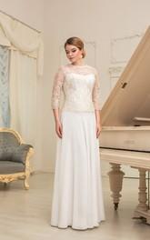 Illusion-Sleeve Pleated Floor-Length A-Line Chiffon Dress