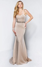 Scoop-neck Spaghetti Jersey Sheath Dress With Beading And Cape