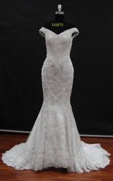 Fishtail Long Train Lace Off-Shoulder Wedding Dress