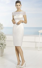 Pencil Knee-length Short Sleeve Satin Dress With Lace