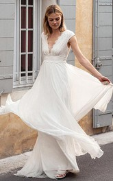 Bohemian Short Sleeve A Line Chiffon Lace V-neck Wedding Dress with V Back