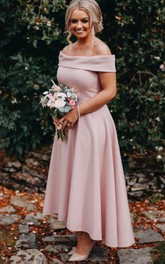 Off-the-shoulder Satin Sleeveless Ankle-length A Line Bridesmaid Dress with Pleats